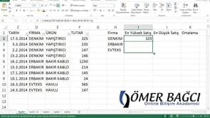 Excel'de Şarta Bağlı En Büyük ve En Küçük Değeri Bulmak