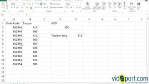Excel'de Topla.Çarpım İşlevi ve Sağdan İşlevinin Ortak Kullanımı