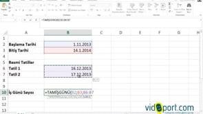 Excel'de İki tarih arasındaki iş günü sayısını bulmak