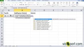 Excel'de girilen tarihin hafta gününü bulmak