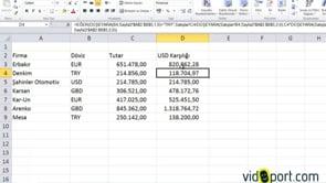 Excel'de EĞER, DÜŞEYARA ile Dövizli Carilerin TL karşılıklarını bulmak