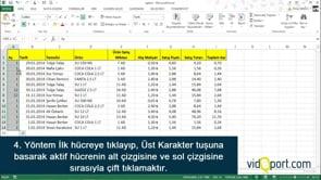 Excel'de tüm tabloyu seçmek için kullanılan 8 farklı yöntem