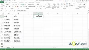 Excel'de iki listeyi satır satır karşılaştırmak
