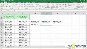 Excel'de Rakamların aşağısını bulmak