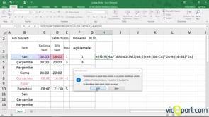 Excel'de mesai saati hesaplamak