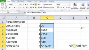 Excel'de MBUL ve SOLDAN İşlevlerinin Ortak Kullanımı