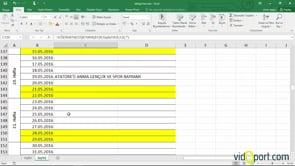 Excel'de 2016 yılının çalışma takvimini oluşturmak