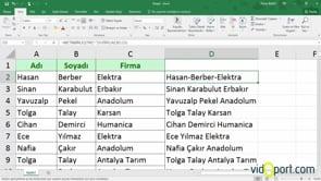 Excel'de MetinBirleştir İşlevinin Kullanımı