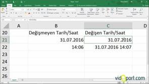 Excel'de Değeri güncelleştirilen tarih veya saat değeri eklemek