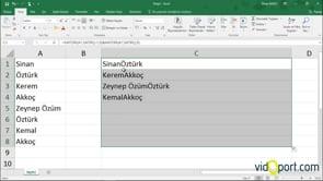 Excel Kaydır ve Satır İşlevi ile Hücrelerdeki İsimleri Birleştirmek