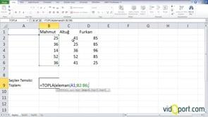 Excel'de Topla ve Eleman işlevi'nin kullanımı
