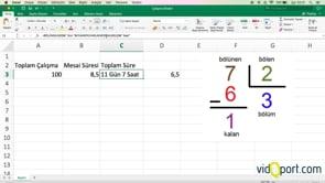 Excel'de toplam mesai saatinin kaç gün ve saat yaptığını bulmak