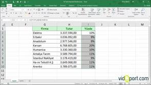 Excel'de bir değerin toplam içindeki yüzdelik değerini bulmak