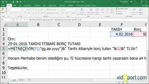 Excel'de Mutakabat mektuplarına tarih ve tutarı yazdırmak