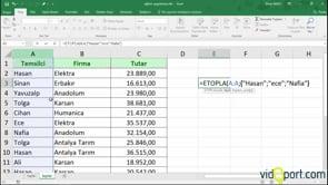 Excel'de Topla ve Etopla fonksiyonlarının birlikte ilginç bir kullanımı