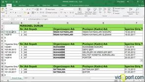Excel'de Işe giriş tarihlerine göre çalışanların listesini ayrı bir alana aldırmak.