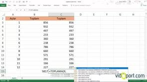 Excel'de Toplama İşlevi ile gizlenmiş satırları toplamak