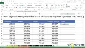 Excel Uygulama Soruları-30. soru ve çözümü