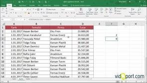 Excel'de Eğersay işlevinde sabit değer ve rakamları saydırmak