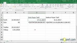 Excel'de İşgünü hesabı, Tarihe eklediğiniz gün kadar sonraki işgününü bulmak