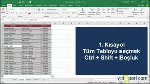 Excel'de Ctrl + Shift ve Ctrl kısayolları