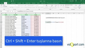 Excel'de Dizi'ler ve ÇOKEĞERMAK - ÇOKEĞERMİN işlevleri