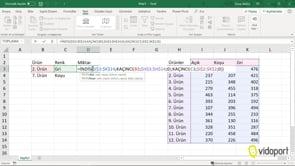 Excel'de İndis ve Kaçıncı İşlevlerinin Kullanımı