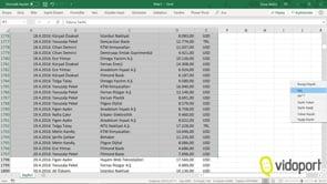 Excel'de Listeler üzerinde hareket etmek