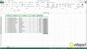 Excel'de iki sütun değerleri çarpıp, toplam almak. Topla.Çarpım İşlevi kullanımı