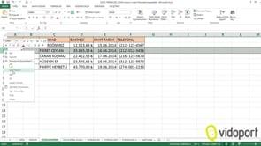 Excel'de Satır, Sütun Ekleme ve silme işlemleri