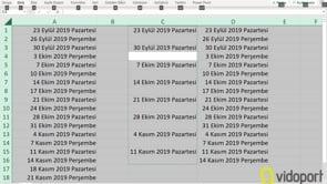 Excel'de Pazartesi-Perşembe Listesi oluşturmak