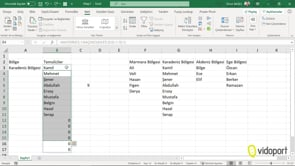 Kaydır fonksiyonu ile dinamik listeler oluşturmak
